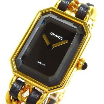 Auth CHANEL Premiere H0001 Black Gold Women's Wrist Watch Q.R17678 #M