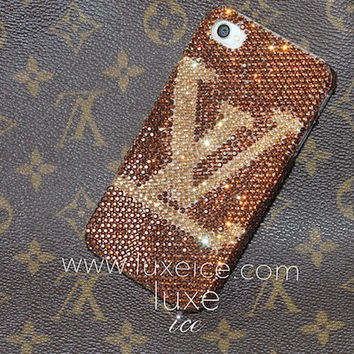iPhone 4, 4s, 5, 5s case made w Swarovski Crystal Elements. 9ss crystals - Designer LV