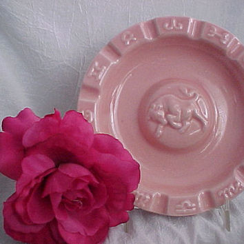 Vintage Ceramic Ashtray With Western Theme or Taurus The Bull Zodiac Collectible Pink Pottery