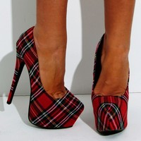 Isobel Red Tartan Check Stiletto Platform Shoes | Pink Boutique