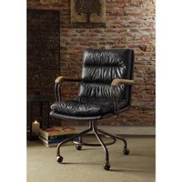 Acme Furniture Hedia Top Grain Leather Office Chair in Vintage Blue 92417 at The Home Depot - Mobile
