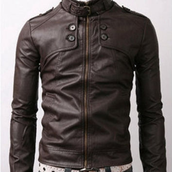 handmade Men Dark brown Leather Jacket, men brown leather jacket, Men stylish slim brown leather jacket four button front panel Design