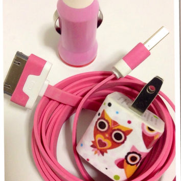 Customized cute Owls I Phone charger in different USB color