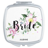 Bride Floral Watercolor Wedding Compact Mirror