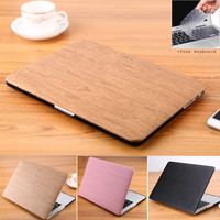 Apple Macbook Wood Grain Leather Cover Case | Free Shipping