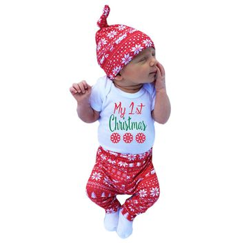 3pcs Xmas set Newborn Baby Girls Boys My First Christmas
