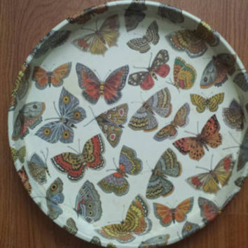 Vintage 1980s butterfly decorative round metal tray