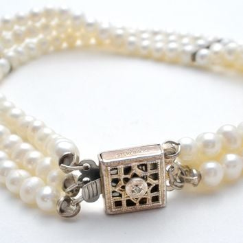 Triple Strand Pearl Bracelet with Diamond Sterling Clasp