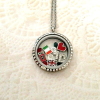 Living locket large silver stainless with crystals One Direction