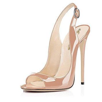 Modemoven Women's Patent Leather Pumps,Peep Toe Heels,Slingback Sandals,Evening Shoes,Cute Stilettos