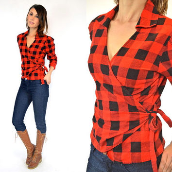 lumberjack BUFFALO CHECK rustic american wrap tie BLOUSE top shirt, small-large