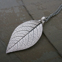 Leaf necklace in fine silver, hydrangea leaf pendant, real leaf impression, garden foliage jewelry, botanical jewelry, artisan handcrafted