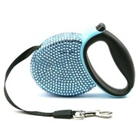 Didog(TM) Blue Bling Rhinestones Retractable Extending Small Dog & Cat Leash