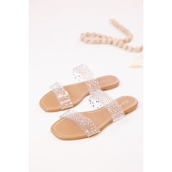 Hazy Clear Band With Rinestones Sandals, Clear Irid