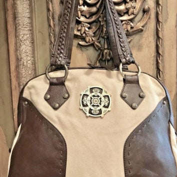 Designer Kate Landry Leather and Canvas Shoulder Tote Bag Engraved Medallion