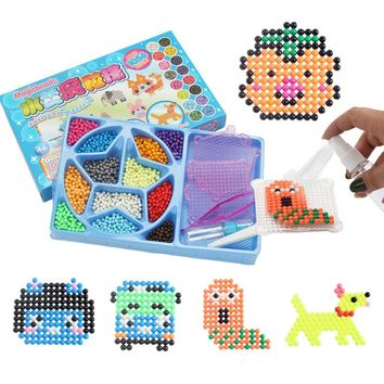 12 color Water Aqua beads sticky pegboard fuse jigsaw puzzle educational toys diy Puzzle kids Children birthday Christmas Gift