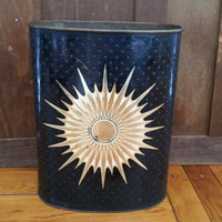 Vintage Metal Mid Century Starburst Trash Can Waste Basket
