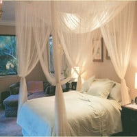 Bed Canopy Bed White Canopy Mosquito Net Full Queen King Size Netting Mosquito Tent  Four Open Door  Canopy moustiquaire