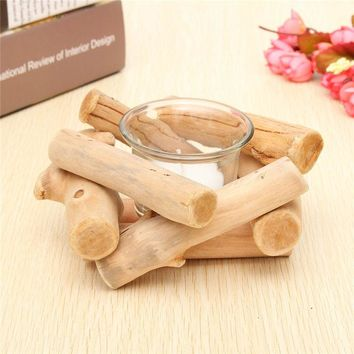 1pcs Fashion Minimalist Simple Design Handmade Wooden Tealight Candle Holder For Gifts Crafts Ornament Home Decoration