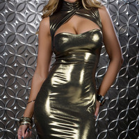 Metallic Mini Dress with Chest Cutout
