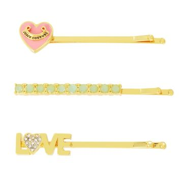 SET OF 3 LOVE HAIR SLIDES