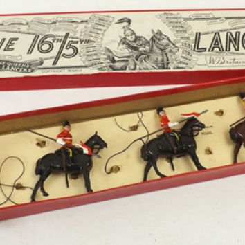 Britains Toy Soldiers 16th 5th Royal Irish Lancers Set # 33, Original Box with 5 Vintage Lead Soldiers on Horses, Collectible Military Toys