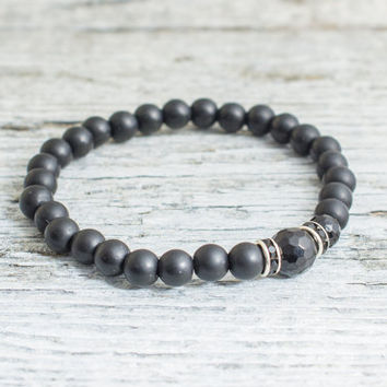 Matte black onyx beaded stretchy bracelet, made to order yoga bracelet, mens bracelet, womens bracelet