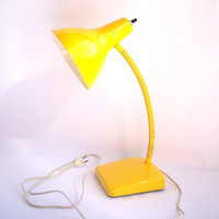 Mid Century Bright Yellow Desk Lamp. vintage industrial metal office lighting