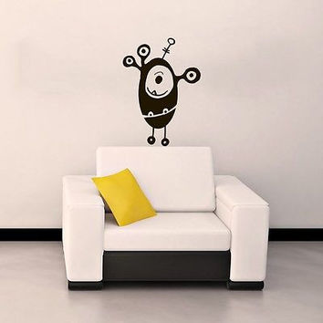WALL VINYL STICKER CHILDREN'S DECALS MURAL FUNNY MONSTER IN THE NURSERY SV2026