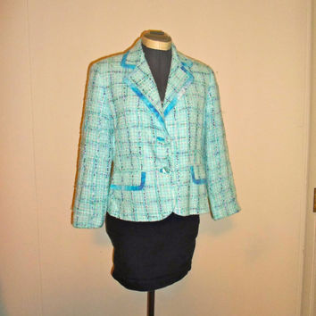 Light & Dark Blue Tweed Glitter Blazer, Jacket with cinched waist