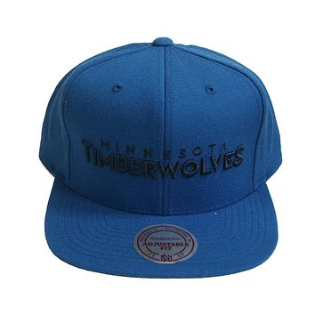 NBA Mitchell Ness Wordmark Minnesota Timberwolves Snapback Blue