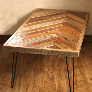 Herringbone Coffee Table with Hairpin Legs - Repurposed wood - Barn wood - chevron