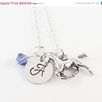 On Sale Personalized Initial Birthstone Horse Necklace, Equestrian Necklace, Pony Charm Necklace with Horse Charm and Swarovski Crystal Birt
