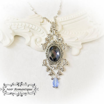 "Ode to Poseidon""light blue victorian necklace-Victorian Gothic Silver plated Necklace-Gothic Victorian Jewelry"