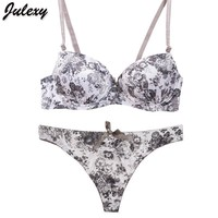 Women Floral Print and Lace Padded Push Up Bra And Seamless Panties Set