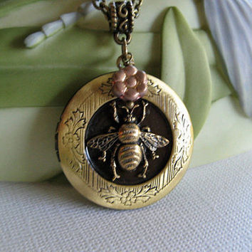 Harmony Necklace  Bumble Bee Antique Bronze by ArtInspiredGifts