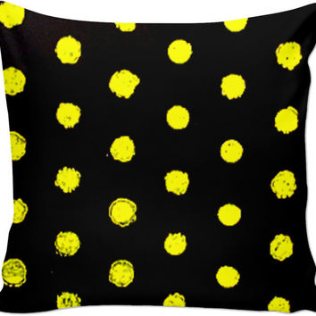 Hand-painted Yellow Polka-dot Pillow
