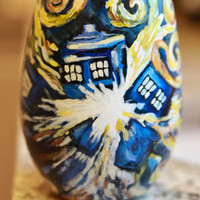 Doctor Who Starry Night Exploding Tardis Hand Painted Wine Glass
