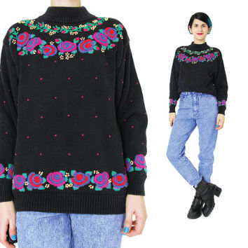 Vintage Floral Embroidered Sweater 80s 90s Black Turtleneck Rose Sweater Womens Mock Neck Sweater Winter Pullover Knit Hearts Polka Dots (S)