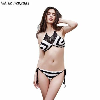 WATER PRINCESS 2017 New Women Crochet Bikini Set Swimwear Beach Knit Bikini Swimsuit Bra de las mujeres Biquini