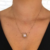 Square Up Crystal Grey Necklace