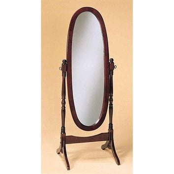 Cherry Finish Oval Cheval Mirror Full Length Solid Wood Floor Mirror