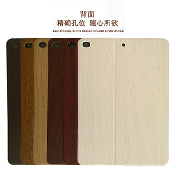 Hot New Orginal Slim Wood Grain Flip Leather Case Stand ultra smart cover case for apple ipad 2 3 4