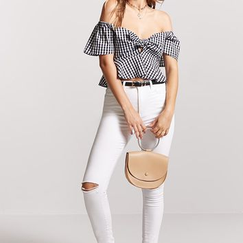 Gingham Peplum Crop Top