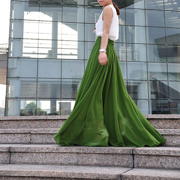 High Waist Maxi Skirt Chiffon Silk Skirts Beautiful Bow Tie Elastic Waist Summer Skirt Floor Length Long Skirt (037), #73