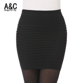 Skirts High Waist  Candy Color Plus Size Elastic Pleated Short Skirt 49851