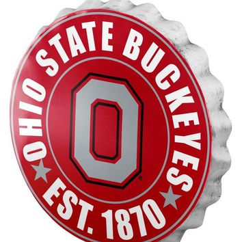 Ohio State Buckeyes Man Cave Bottlecap Wall Sign