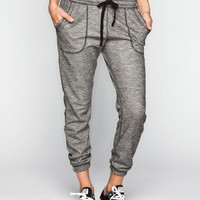 Full Tilt Marled French Terry Womens Jogger Pants Black/White  In Sizes
