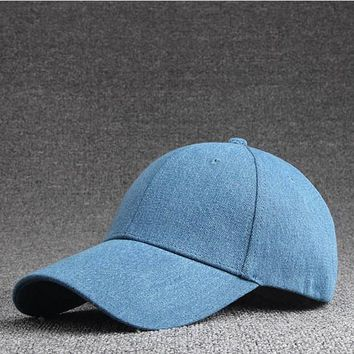 Solid Color Denim Snapback Hat