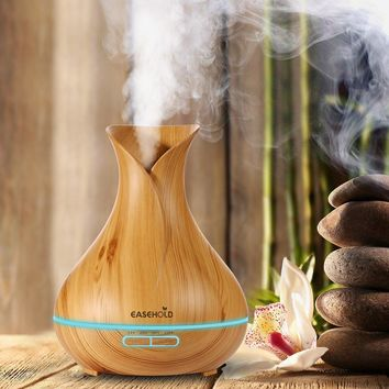 Aromatherapy Essential Oil Diffuser Air Humidifier with Wood Grain 7 Color